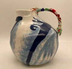 Anthropologie Keramisk Anna Westerlund Jug Pitcher Blue Design Fabric on Handle