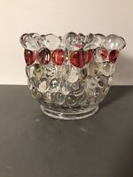 """Hand Blown Folded Collar Glass Vase 6"""" With Red Highlights"""