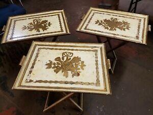 Set of 3 Antique Gold Gilt Italian Florentine Carved Wood Folding Table Stands