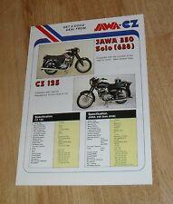 Jawa CZ Motorcycle Brochure 1990 - CZ125 350 Solo 350 Sidecar
