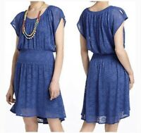 LeifNotes Anthropologie Smocked Mini Dress Size XS Blue Lace Crochet A841