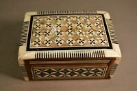 Old Vintage Middle Eastern Marquetry Mini Box MOP & Abalone Handmade Inlay Wood