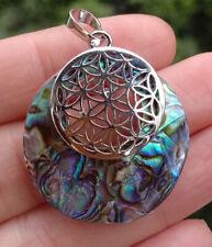 Natural Abalone shell Yoga Mantra Pendant Energy Reiki Healing Amulet