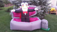 RARE! Gemmy Airblown Inflatable Halloween Vampire Dracula Coffin RIP Tombstone