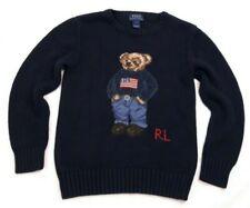 Polo Ralph Lauren Americana Bear Sweater Kids 7 Navy Flag Excellent Cotton Knit