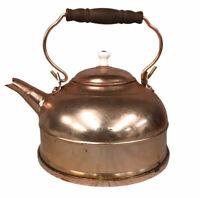 Vintage Copper Tea Kettle W/ Wooden Handle And Patina -Tea Pot Copper Brass Wood