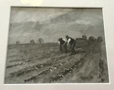 Original VICTORIAN PEN & INK SKETCH Farm Workers Field Labourers DATED 1898