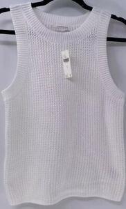 NEW Anthropologie White Classy Sleeveless Sweater Tank Top X SMALL XS $78 NWT