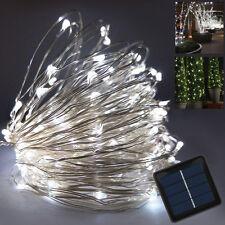 10M 100LED Solar Lichterkette Party Lichtschlauch Weihnachtsdeko 8Mode kaltweiß