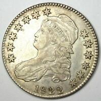 1822 Capped Bust Half Dollar 50C - XF / AU Details - Rare Date Coin!