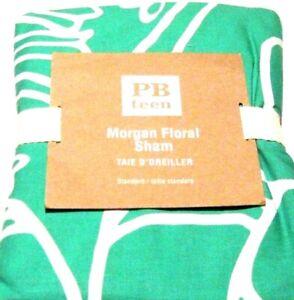 POTTERY BARN Teen Morgan Gumdrop Green Floral Standard Pillow Sham 26 x 20 White