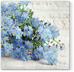 Quality 3-ply Easter Forget-Me-Not Paper Decorative Serviettes 33 x 33cm