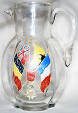 WWI WW1 World War One French trench art enamel flags glass vase jug pitcher 1917