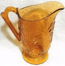 Bird & Fern Amber Glass Pitcher #67 - Beaver Falls Glass Co - Hummingbird - 1887