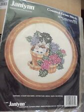 KITTIES AND FLOWER POTS COUNTED CROSS STITCH KIT BY JANLYNN - FROM 1991