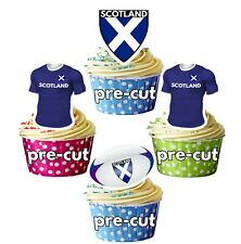 PRECUT Rugby  Cupcake Toppers Cake Party Decorations - Scotland