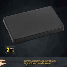 "Slim 2.5"" USB 2.0 HDD Case Hard Driver 2TB SATA External Box Disk Case Black WT"