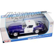 Maisto 1965 Chevy Corvette Stingray 1:18 Diecast Model Police Car Blue White