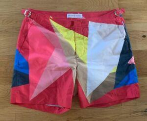 "Orlebar Brown Bulldog Swim Shorts Rob Wyn Yates Prism Geometric Pattern 32""W New"