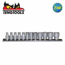 Teng Tools 12pc 1/4in Drive 6 Point Metric 4-13mm Socket Set On Clip Rail M1412