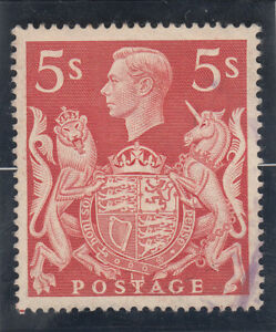 Great Britain 1939. King George VI  5sh shillings, brownish red. Used