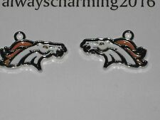 "DENVER BRONCOS INSPIRED 7/8"" CHARMS TO MAKE JEWELRY - PAIR FACING EACH OTHER"