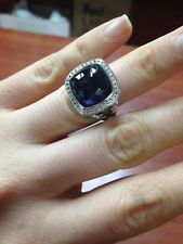 David Yurman Sterling Silver 14mm Black Orchid Diamond Albion Ring Size 8