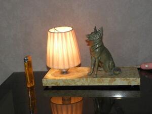 LAMP ART DECO table figurine desck vintage french marble light Licht dog retro