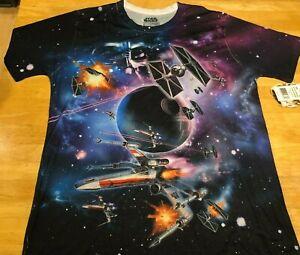 Star Wars T Shirt Darth Vader Death Star Imperial Tie Fighter X Wing Sz L  New