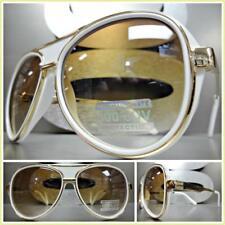 CLASSIC VINTAGE RETRO Style Party Rave Club SUN GLASSES Gold White Fashion Frame