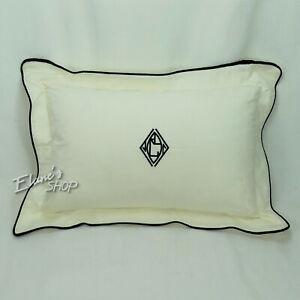 Ralph Lauren New WILTSHIRE Pique Pillow Black Ivory NIP 12 x 18 inches $95