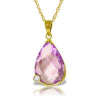 """Genuine Amethyst Briolette Gemstone Diamond 18"""" Necklace In 14K Yellow Gold"""