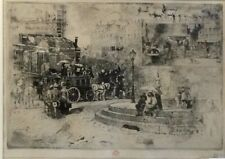 "FELIX BUHOT, ""LA PLACE PIGALLE"", RED OWL STAMP, 1878,ETCHING, AQUATINT, DRYPOINT"