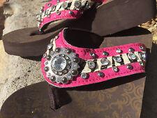 Pink Flip Flops Bling Ladies Rhinestone Western Montana West Cushion Sandal Sz 8