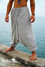 Mens Hemp Harem Pants Grey Hippie Yoga Plain Aladdin Martial Arts Baggy Festival