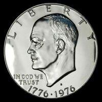 1976-S Silver PROOF Eisenhower Dual Dated Bicentennial Commemorative Dollar GEM