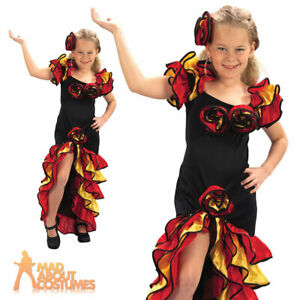 Child Rumba Girls Costume Flamenco Spanish Mexican Fancy Dress Outfit New