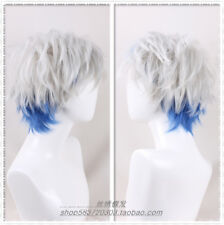 Player One Wig Silver Blue short fluffy straight cosplay Costume Wig+a wig cap