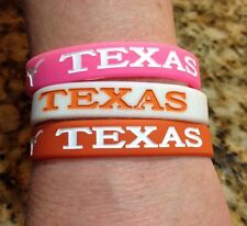 University Of Texas Longhorn Wrist Band Bracelets, UT Football,Basketball, Lot 3