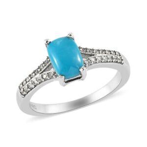 1.10ctw Natural Sleeping Beauty Turquoise & Zircon Split Shank Ring Platinum Ove