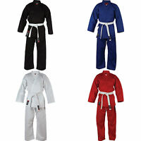 BLITZ ADULT KIDS KARATE AIKIDO UNIFORM SUITS WHITE RED BLUE AND BLACK FREE BELT