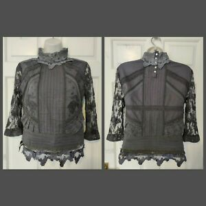 Whistles mauve lace top UK 8 crochet embroidered steampunk victorian style