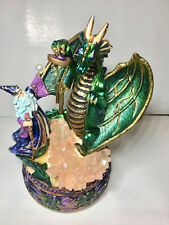 Musical Dragon figurine with wizard and crystal ball collectible