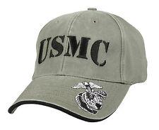 Vintage OD Low Pro USMC Cap - Marines - Military - Globe & Anchor on Brim