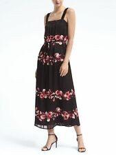 Banana Republic Floral Stripe Maxi Dress, Sz 10 Black (53113)