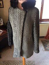 Desigual Spanish Designer Women's Coat Wool GREY PANELS red size 42 12/14