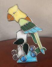 "8"" Tall Stained Glass Parrot Lovebird Light Catching  Windowsill Decor Rainbow"