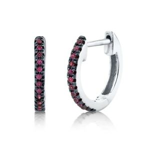 14K White Gold Ruby Huggie Earrings Hoops Round Cut Natural Small 0.08CT Womens