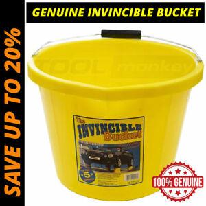 Invincible Builders Bucket - Heavy Duty Extra Strong Yellow Bucket - Genuine