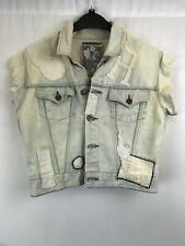 Religion ladies denim jacket sleeveless washed blue cotton size M 003